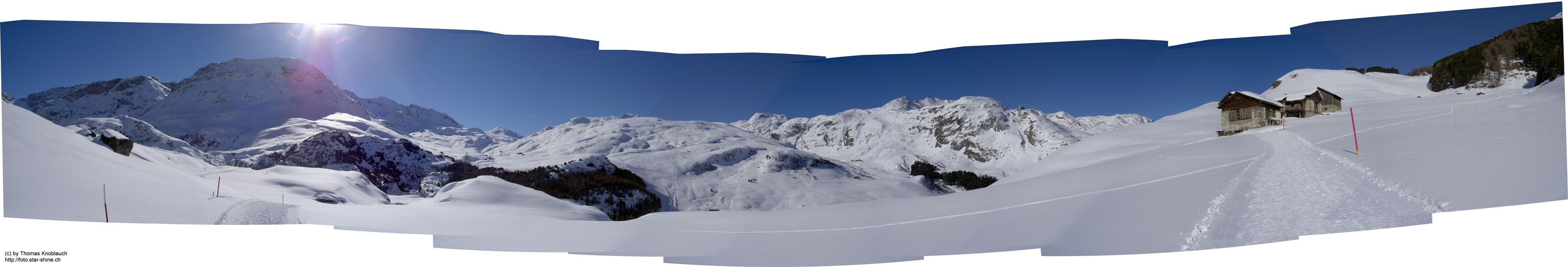 Panorama of Bivio seen from Parschains, Switzerland
