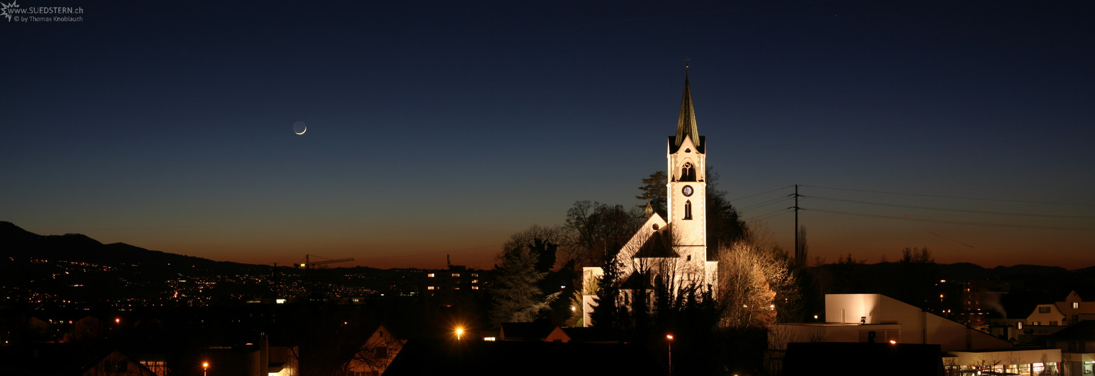 2008-02-08 - Panoramic Sundown with Moon and Church, Jona, Switzerland