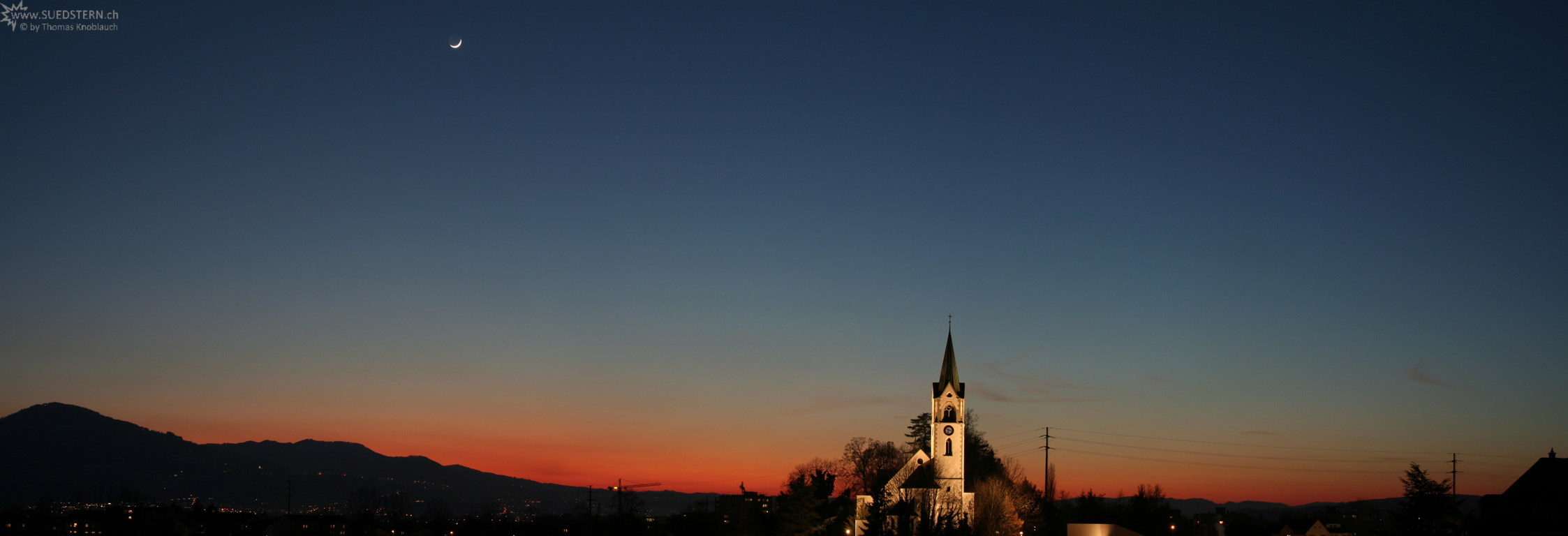 2008-02-09 - Panoramic Sundown with Moon and Church, Jona, Switzerland